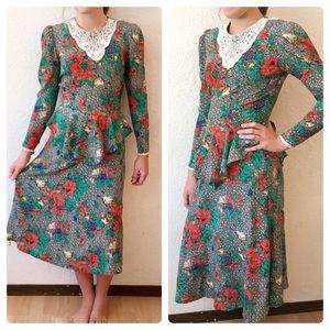 90s Romantic Lace Collar Peplum Secretary Dress